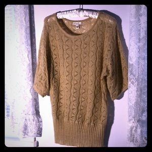 Kim Rogers Tan Sweater Top L